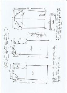 Esquema de modelagem de blusa com abertura na frente e costas tamanho 36.