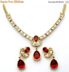 Sale Red Necklace Set Ruby Rhinestones by TheJewelryLadysStore