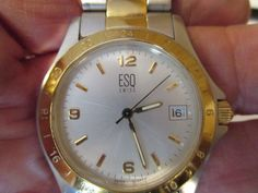 MEN'S ESQ QUARTZ WATCH WITH THE DATE,EASY TO READ,SWISS MADE,WR,SS BACK,E5101 #ESQ #Casual