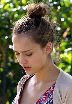 Jessica Albas casual, bun hairstyle