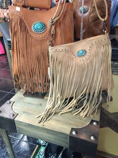 Leather fringe bags are in!