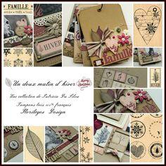 """Mini album """"Une famille en hiver"""" ... - Le Scrap de Patmiaou Scrapbooking, Scrapbook Albums, Mini Albums Scrap, Jolie Photo, Tampons, Playing Cards, Collection, Beige, Tutorials"""