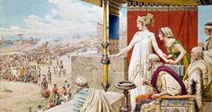"""Helen watching Menelaus and Paris fight from the walls of Troy"", Fortunino Matania"