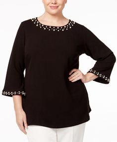 Charter Club Plus Size Pearl Beaded Tunic, Only at Macy's