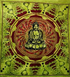 Huge Buddha #Tapestry Wall Hanging Religious Wall Decor #Hippie #WallArt - Green (82 X 72 Inches)