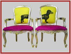 Jimmie Martin - cadeiras color block e cachorrinho