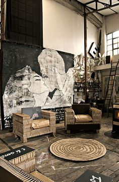 art, design, interior design. Blending old and new. Black white and a touch of neutral.