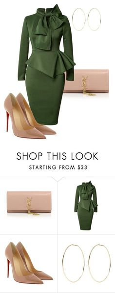 """Styled by Candice"" by candicegeorge ❤ liked on Polyvore featuring Yves Saint Laurent, Christian Louboutin and Kenneth Jay Lane"
