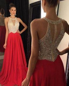 Halter Beaded Prom Dress,Red Prom Dress,Custom Made Evening Dress,#1756