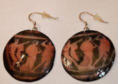 Antique greek scene earrings round archaic by PersonalSingular, €5.00