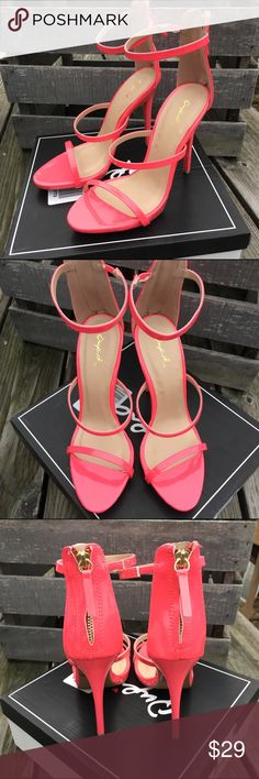 🆕List! Pink Patent Strappy Heels! NIB! Man-made patent leather. Back zipper. Heel height 4.5 inches. Qupid Shoes Heels