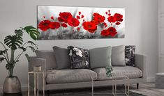 Cuadro moderno Romantic Poppies 98618 additionalImage 3 Flower Painting Canvas, Fence Art, Decoration, Flower Art, Watercolor Art, Poppies, Love Seat, Concept Art, Sweet Home