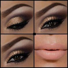 brown/gold smokey eye: nude lips