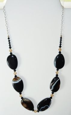Swarovski Crystal Beads and Chunky Black Agate Necklace by BestBuyDesigns