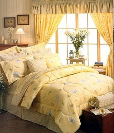 blue and yellow french country bedroom | yellow ground the coordinate is sage and pale blue plaid with a yellow ...