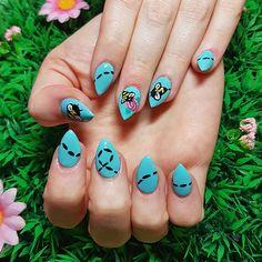 Pastel blue with bee nail art! www.kawaiiklaws.com Bee Nails, Pastel Blue, Nail Art, Kawaii, Turquoise, Green Turquoise, Nail Arts, Nail Art Designs