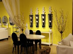 Living Room, Amusing Yellow Dining Room With Black Furniture And Yellow Colored Wall Also Artistic Ornaments For Dining Room Ideas With Yellow Room Design And Black White Traditional Color Combination: Appealing Why Should I Paint My Yellow Living Room ? Yellow Dining Room, Dining Room Wall Decor, Dining Room Design, Dinning Set, Dining Table, Dining Area, Dining Rooms, Kitchen Design, Living Room Paint