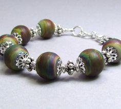 Gorgeous Lampworked Raku Sterling Silver Bracelet by TheSilverBear, $125.00