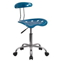 Flash Furniture Computer Task Chair with Tractor Seat and Chrome Base Bright Blue
