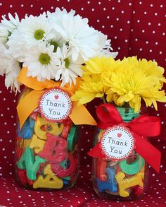As obnoxious as I find most teacher gifts and crafts, this letter vase is pretty cute.