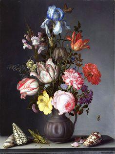 Balthasar van der Ast Vazoda Çiçekler böcek ve istiridye kabuğu, Tarih: 1630, Orijinal Boyut: 47 x 37 cm