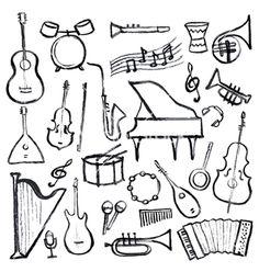 Set of music instruments on VectorStock