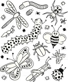 coloring pages - A doodle page of bugs Bugs Drawing, Drawing For Kids, Art For Kids, Doodle Drawings, Easy Drawings, Doodle Art, Pages Doodle, Bug Coloring Pages, Bugs And Insects