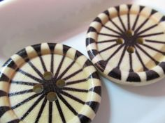 5 Black Wagon Wheel Wood Button 30mm Sewing by WNBrunk on Etsy