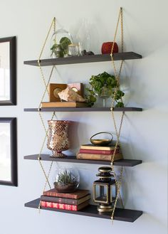 black and gold chain shelf DIY