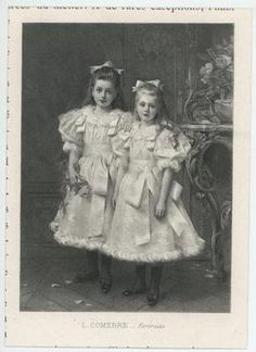 Antique Victorian Sisters Girl Flowers White Dress Satin Ribbons Miniature Print | eBay