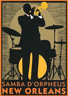 """New Orleans Jazz BIG"" Art Deco Print Jazz Music Jazz in Arte, Arte de anticuarios y revendedores, Afiches | eBay"
