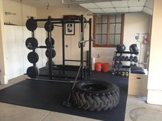 Garage Gym Ideas to Turn Your Garage into a Stunning Gym : home garage gym ideas. garage gym blueprint,garage gym design,garage gym flooring,garage home gym ideas Crossfit Garage Gym, Home Gym Garage, Crossfit At Home, Basement Gym, Dream Garage, Rogue Fitness, Workout Fitness, Fitness Goals, Dream Home Gym