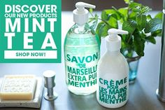 Discover our NEW crisp, clean fall fragrance - Mint Tea. Aromatic fragrance of mint tea raised by the freshness of a lemony note. The collection includes liquid soaps, body lotion, hand cream, bar soaps and travel size products.   http://www.compagniedeprovence-usa.com/Mint-Tea.html
