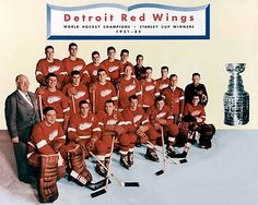 Stanley Cup Champions: The greatest team in Red Wings' history By Richard Bak, Dec 2014 Hockey Stanley Cup, Stanley Cup Champions, Detroit Red Wings, Ted Lindsay, Red Wings Hockey, Detroit Sports, Home Team, Team Photos, Great Team