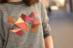 DIY: Sweater with leather pieces panel - EmerJa