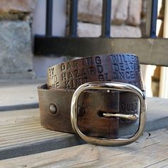 This amazing, rugged and fashionable belt is hand-tooled, and comes in your choice of select colors. It is beautiful, unique and practical.