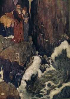 """Edmund Dulac """"SHAKESPEARE`S COMEDY OF THE TEMPEST"""" (1908) """"Miranda: O, the cry did knock against my very heart."""""""