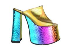 shoes holographic rainbow 90s style 1990s vintage cyber rave raver gogo disco club kids seapunk metallic gold platform shoes mules sandals neon jeffrey campbell