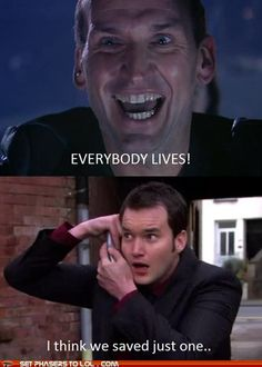 Perfectly shows the differences between Doctor Who and Torchwood. DW is sugar coated and whimsical, while Torchwood is raw, emotional, and more realistic... Ya know, if time lords and weevils existed.