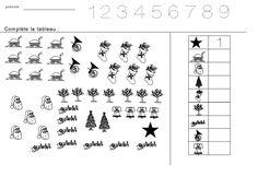 Fiches maternelles : Compter les figures de Noël et inscrire cette quantité dans les cases du tableau