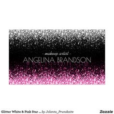 Glitter White & Pink Star Rain Makeup Artist Card