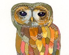 Colorful Owl  archival 5 x 7 print by courtneyoquist on Etsy, $9.00