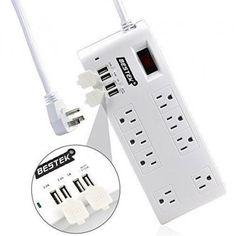 #BESTEK - #Bestek BESTEK Surge Protector Power Strip 8-Outlet6 Feet Cord with 5.2A 4-Port USB Charging Station - AdoreWe.com
