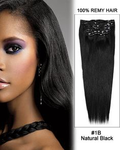 16 Inch 8pcs Straight Indian Clip In Remy Hair Extensions (#1B Natural Black) 100g