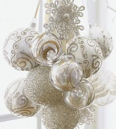 White Christmas ornament cluster!!! Bebe'!!! Lovely glass ball ornaments in an elegant white on white and gold and white with a festive touch of shine and glitter!!!