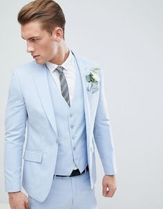 30 Stylish Colored Suits for Modern Grooms! 30 Stylish Colored Suits for Modern Grooms! Baby Blue Suit, Blue Suit Men, Black Suits, Navy Suits, Light Blue Suit Wedding, Light Blue Tux, Light Blue Prom Suits, Blue Tuxedo Wedding, Dark Blue