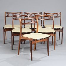 1222/782 - Johannes Andersen: A set of six chairs, seats with light wool. Manufactured by Uldum Møbelfabrik. (6)