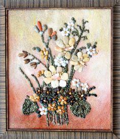 Daffodils, Sea Pebbles Mixed Media, Original Mosaic Art, Modern Wall Art, Home…