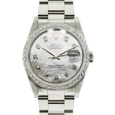 You are viewing this Rolex Datejust Stainless Mother of Pearl Dial Diamond Bezel Watch!