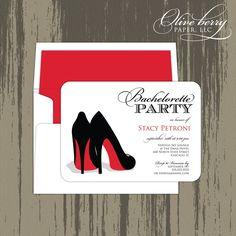 Red Shoe Bachelorette Invitation.